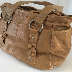 Kenneth Cole Reaction tan leather bag